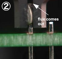 2. Flux comes out before solder melted.